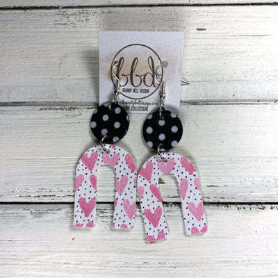 HOPE - Leather Earrings  ||    <BR> BLACK & WHITE POLKADOTS, PINK HEARTS ON POLKADOTS (FAUX LEATHER)
