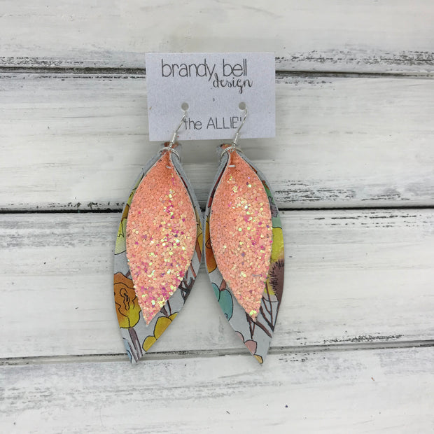 ALLIE -  Leather Earrings  || <BR> PEACH GLITTER (FAUX LEATHER)<BR> WATERCOLOR FLORAL