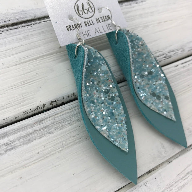 ALLIE -  Leather Earrings  || <BR>FROSTED BLUE GLITTER (FAUX LEATHER)<BR> MATTE DUSTY AQUA