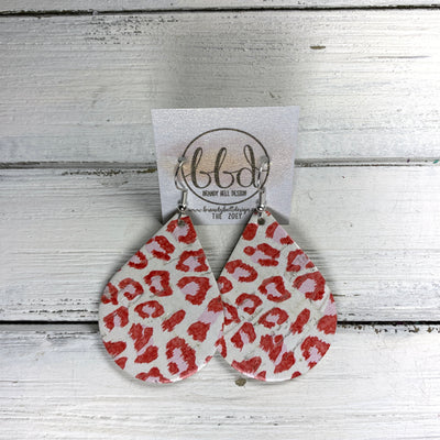 ZOEY (3 sizes available!) -  Leather Earrings  ||   RED ANIMAL PRINT ON WHITE (CORK ON LEATHER)