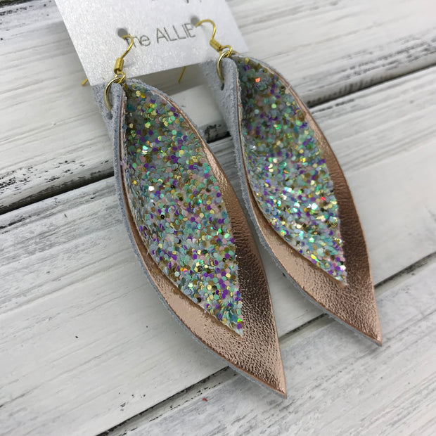 ALLIE -  Leather Earrings  || <BR> MERMAID MAGIC GLITTER (FAUX LEATHER)<BR> METALLIC ROSE GOLD SMOOTH
