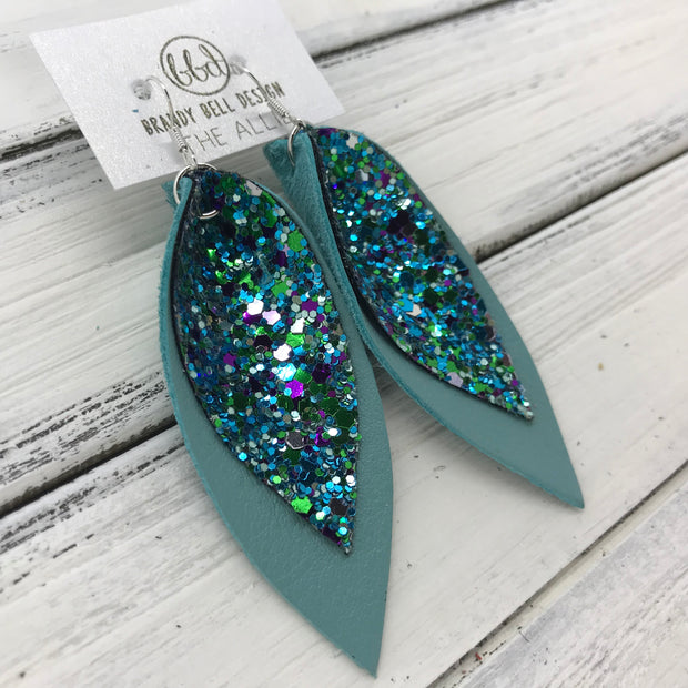 ALLIE -  Leather Earrings  || <BR> UNDER THE SEA GLITTER (FAUX LEATHER)<BR> MATTE DUSTY AQUA