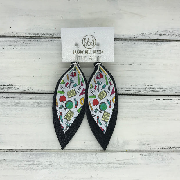 ALLIE -  Leather Earrings  || <BR> TEACHER PRINT (FAUX LEATHER)<BR> SHIMMER BLACK