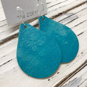 ZOEY (3 sizes available!) -  Leather Earrings  || DISTRESSED TEAL OCEAN