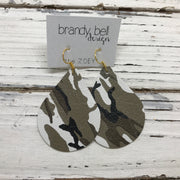 ZOEY (3 sizes available!) -  Leather Earrings  || CAMOUFLAGE, CAMO