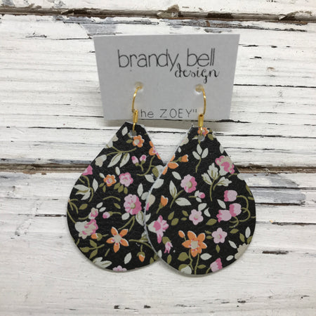 miniZOEY + ZOEY -  Leather Earrings  || TINY PINK FLORAL ON BLACK