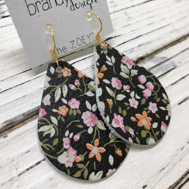 ZOEY (3 sizes available!) -  Leather Earrings  || TINY PINK FLORAL ON BLACK