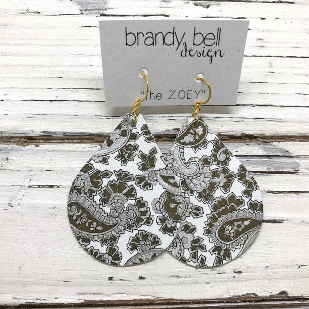 ZOEY (3 sizes available!) -  Leather Earrings  || SILVER & GOLD PAISLEY