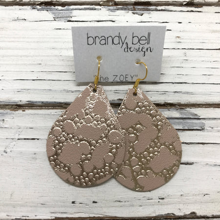 miniZOEY + ZOEY -  Leather Earrings  || METALLIC GOLD BUBBLES ON PINK