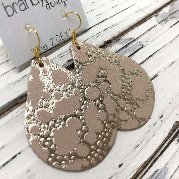 ZOEY (3 sizes available!) -  Leather Earrings  || METALLIC GOLD BUBBLES ON PINK