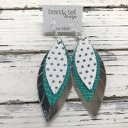 INDIA - Leather Earrings  ||  WHITE WITH METALLIC SILVER POLKA DOTS, PEARLIZED AQUA COBRA, METALLIC SILVER
