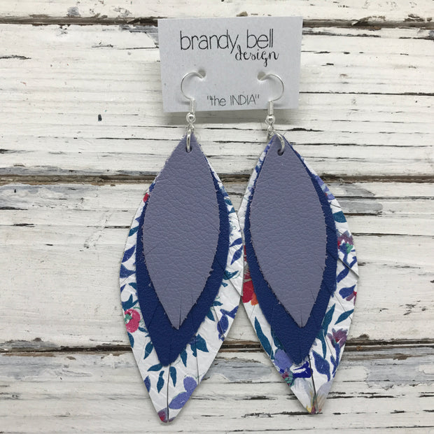 INDIA - Leather Earrings  ||  MATTE LAVENDER, MATTE COBALT BLUE, FLORAL ON WHITE