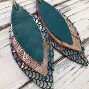 INDIA - Leather Earrings  ||  MATTE DARK TEAL, METALLIC ROSE GOLD TEXTURE, METALLIC ANTIQUE MERMAID BLUE/GREEN/PURPLE