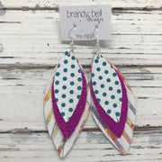 INDIA - Leather Earrings  ||  WHITE WITH TEAL POLKA DOTS, METALLIC NEON PINK, WHITE WITH WATERCOLOR STRIPES