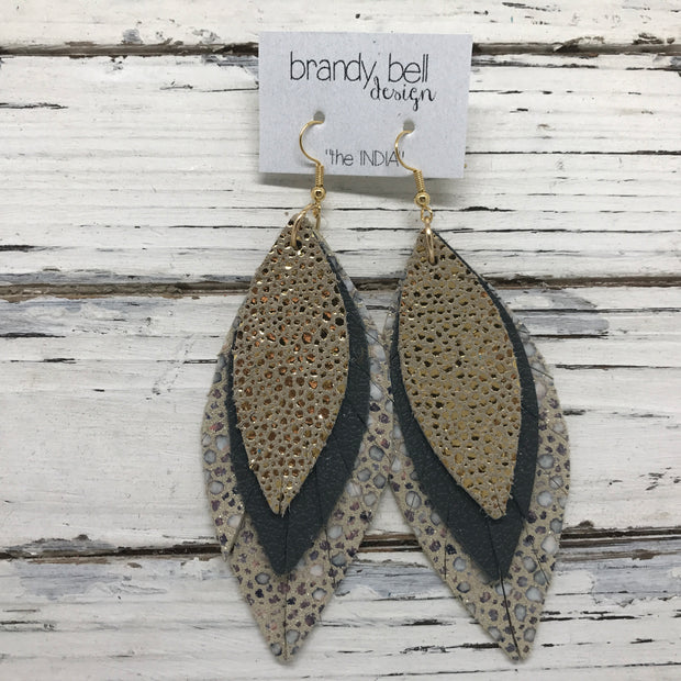 INDIA - Leather Earrings  ||  METALLIC GOLD DRIPS, MATTE DARK GRAY, METALLIC IVORY STINGRAY