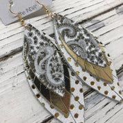 INDIA - Leather Earrings  ||   METALLIC SILVER & GOLD PAISLEY, METALLIC GOLD, WHITE WITH METALLIC GOLD POLKADOTS