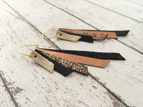 AUDREY - Leather Earrings  || Shimmer gold, matte black, crackle copper, metallic copper, shimmer black