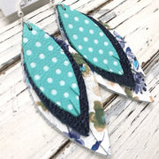 INDIA - Leather Earrings  ||   MATTE AQUA WITH WHITE POLKA DOTS, METALLIC NAVY PEBBLED, FLORAL ON WHITE