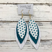 INDIA - Leather Earrings  ||   WHITE WITH TEAL POLKADOTS, DARK TEAL GLOSSY SCALES, MATTE WHITE COBRA