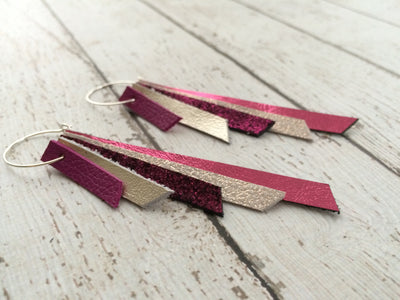AUDREY - Leather Earrings  || matte fuchsia, metallic champagne, metallic fuchsia crackle, shimmer rose gold, metallic pink