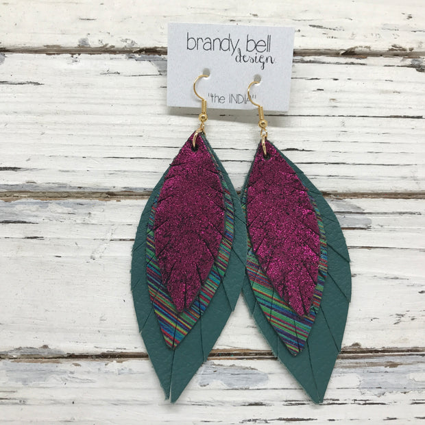 INDIA - Leather Earrings  ||   METALLIC SHIMMER MAGENTA, DARK MULTI COLRO STRIPES, MATTE SPRUCE GREEN