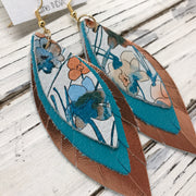 INDIA - Leather Earrings  ||   TEAL & ORANGE WATERCOLOR FLORAL, MATTE TURQUOISE, METALLIC COPPER