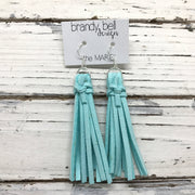 MARIE - Faux Suede Tassel Earrings  || AQUA