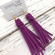 MARIE - Faux Suede Tassel Earrings  || BERRY
