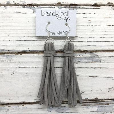 MARIE - Faux Suede Tassel Earrings  || GRAY