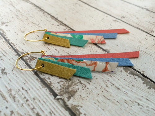 AUDREY - Leather Earrings  || distressed ochre, pearlized teal, floral, matte carolina blue, salmon