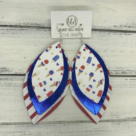 GINGER - Leather Earrings  ||  <BR> AMERICAN TREATS <BR> METALLIC BLUE SMOOTH <BR> WHITE & RED STRIPES