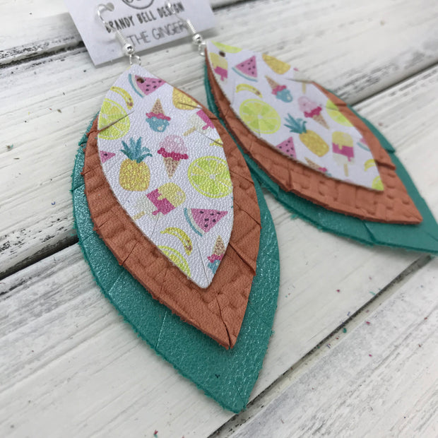 GINGER - Leather Earrings  ||  <BR>TUTTI FRUITI (FAUX LEATHER) <BR> SALMON WEAVE <BR> PEARLIZED AQUA