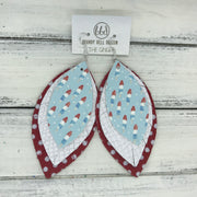 GINGER - Leather Earrings  ||  <BR>  BOMB POPS (FAUX LEATHER) <BR> MATTE WHITE COBRA <BR> RED WITH WHITE POLKADOTS