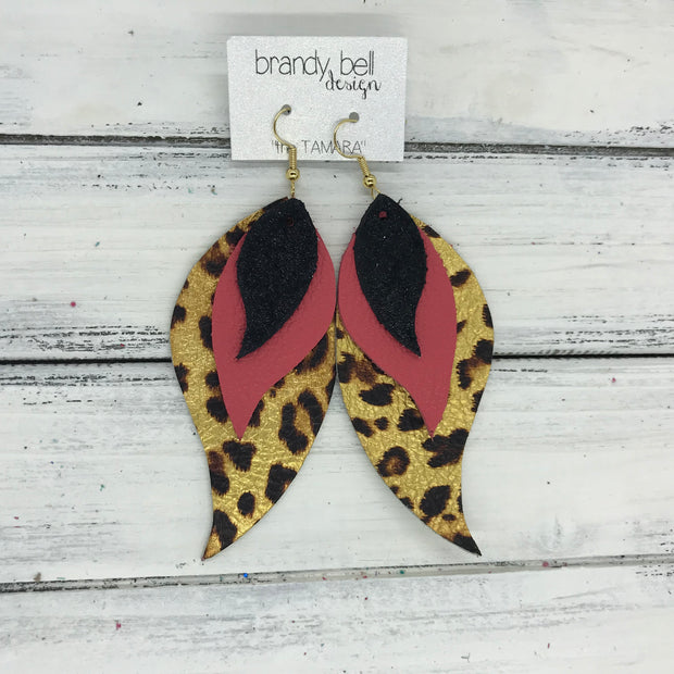TAMARA - Leather Earrings  ||  <BR> SHIMMER BLACK <BR> MATTE CORAL PINK <BR> METALLIC CHEETAH PRINT