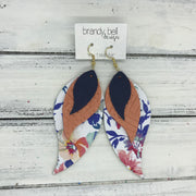 TAMARA - Leather Earrings  ||  <BR> MATTE NAVY BLUE <BR> SALMON WEAVE <BR> FLORAL ON WHITE