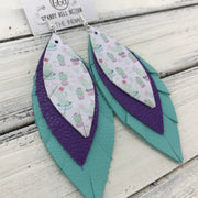 INDIA - Leather Earrings   ||  <BR>  CACTUS PRINT (FAUX LEATHER) <BR>  MATTE PURPLE <BR> ROBBINS EGG BLUE