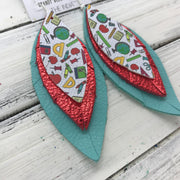 INDIA - Leather Earrings   ||  <BR>  TEACHER PRINT (NOT REAL LEATHER) <BR> METALLIC RED PEBBLED <BR>  ROBBINS EGG BLUE
