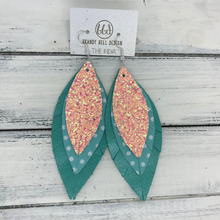 INDIA - Leather Earrings   ||  <BR>  PEACH GLITTER (NOT REAL LEATHER) <BR> AQUA WITH WHITE POLKADOTS <BR> PEARLIZED AQUA