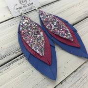 INDIA - Leather Earrings   ||  <BR>  UNICORN SPRINKLES GLITTER (NOT REAL LEATHER) <BR> MATTE PINK <BR> MATTE PERIWINKLE BLUE