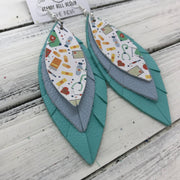 INDIA - Leather Earrings   ||  <BR>  NURSE PRINT (NOT REAL LEATHER) <BR> MATTE LIGHT BLUE <BR> ROBBINS EGG BLUE