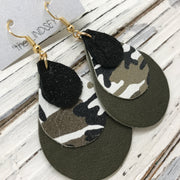LINDSEY - Leather Earrings  ||  SHIMMER BLACK, CAMOUFLAGE, MATTE OLIVE GREEN