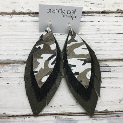 INDIA - Leather Earrings  ||   CAMOUFLAGE, SHIMMER BLACK, MATTE OLIVE GREEN