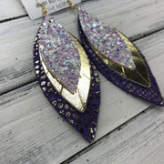 INDIA - Leather Earrings   ||  <BR>  FAIRY DUST GLITTER (NOT REAL LEATHER) <BR> METALLIC GOLD SMOOTH <BR> PURPLE WITH METALLIC GOLD ACCENTS