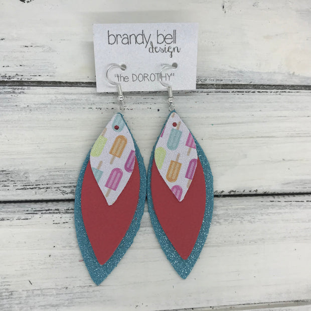 DOROTHY - Leather Earrings  ||  <BR> POPSICLES (FAUX LEATHER) <BR> MATTE CORAL PINK <BR> SHIMMER AQUA
