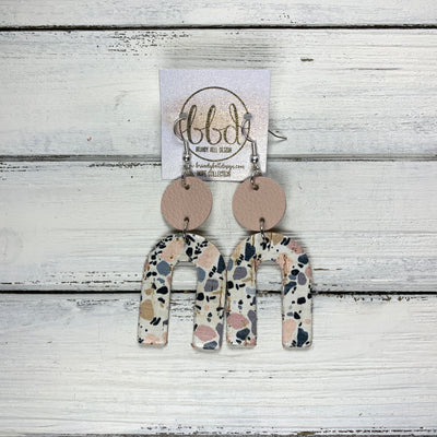 HOPE - Leather Earrings  ||    MATTE BLUSH PINK, <BR> GRANITE MOSAIC CORK ON LEATHER