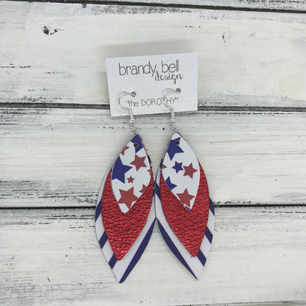 DOROTHY - Leather Earrings  ||  <BR> AMERICANA STARS <BR> METALLIC RED PEBBLED <BR>WHITE WITH BLUE STRIPES