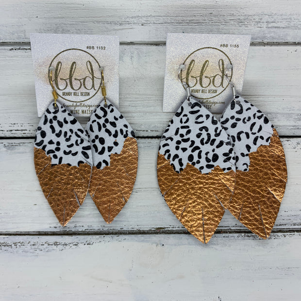 "(MINI) MAISY - Leather Earrings  ||<BR>  ""DIPPED"" COLLECTION - OOAK (one of a kind) <BR> BLACK & WHITE CHEETAH <BR> SILVER FOIL (BB1116)"