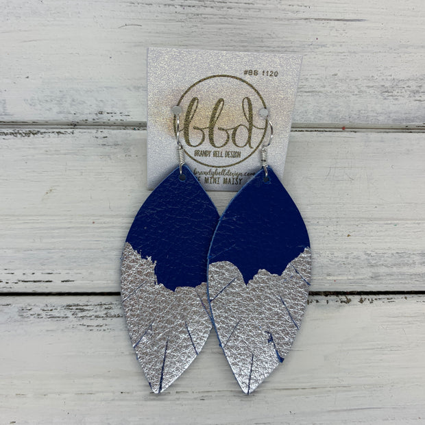 "(MINI) MAISY - Leather Earrings  ||<BR>  ""DIPPED"" COLLECTION - OOAK (one of a kind) <BR> COBALT BLUE  <BR> SILVER FOIL (BB1120)"