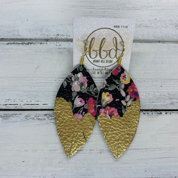"(MINI) MAISY - Leather Earrings  ||<BR>  ""DIPPED"" COLLECTION - OOAK (one of a kind) <BR> PINK FLORAL ON BLACK <BR> GOLD FOIL (BB1118)"