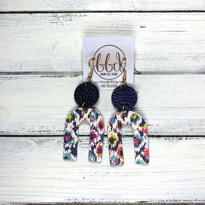 HOPE - Leather Earrings  ||  METALLIC NAVY PEBBLED, <BR> MULTICOLOR IKAT PRINT